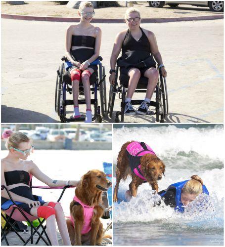 Doua surori care sufera de aceeasi boala fac surfing cu ajutorul unui caine